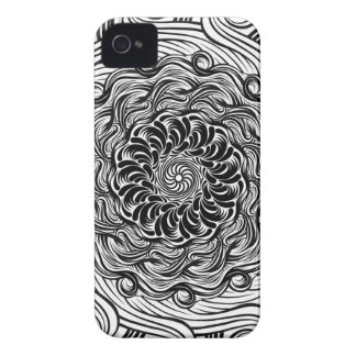 Ornate Zen Doodle Optical Illusion Black and White iPhone 4 Case