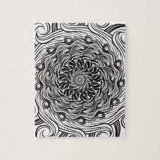 Ornate Zen Doodle Optical Illusion Black and White Jigsaw Puzzle