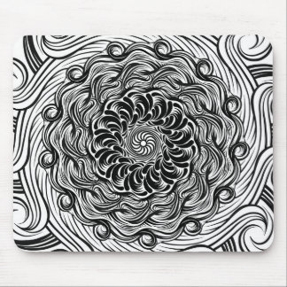 Ornate Zen Doodle Optical Illusion Black and White Mouse Pad