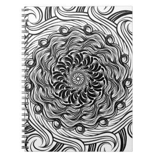 Ornate Zen Doodle Optical Illusion Black and White Notebooks