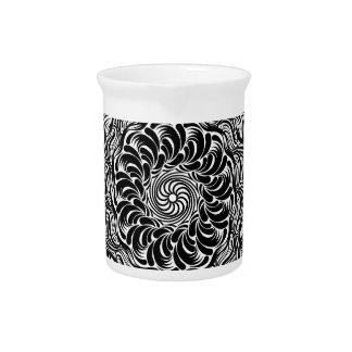 Ornate Zen Doodle Optical Illusion Black and White Pitcher
