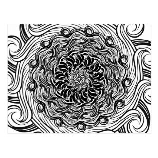 Ornate Zen Doodle Optical Illusion Black and White Postcard