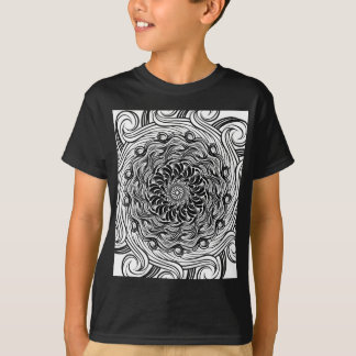 Ornate Zen Doodle Optical Illusion Black and White T-Shirt