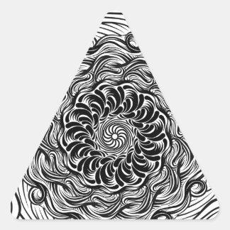 Ornate Zen Doodle Optical Illusion Black and White Triangle Sticker