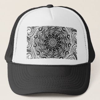 Ornate Zen Doodle Optical Illusion Black and White Trucker Hat