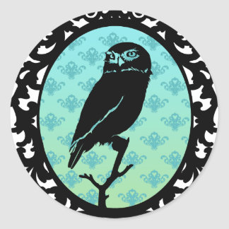 Ornated Framed Owl Round Stickers