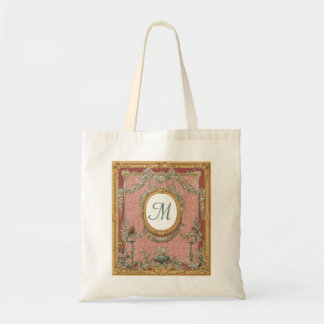 Ornately Framed Monogram, Vintage Floral Tapestry Tote Bag