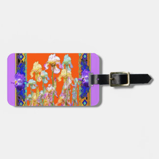 Ornately Lilac framed Iris Garden by sharles Luggage Tag