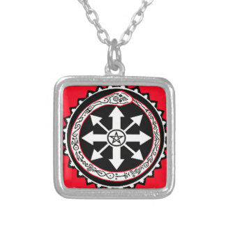 Oroburos with Chaos Star Silver Plated Necklace