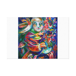 Orphan Girl with Flowers Stretched Canvas Prints