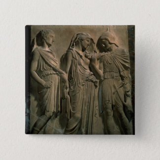 Orpheus, Eurydice and Hermes (marble) 15 Cm Square Badge