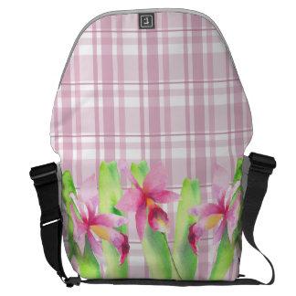 Orquídea watercolor Pretty Decorative Colorful Courier Bag
