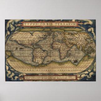 Ortelius World Map 1570 Typvs Orbis Terrarvm Poster