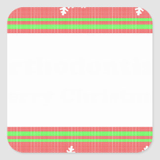 Orthodontist ulgy christmas square sticker