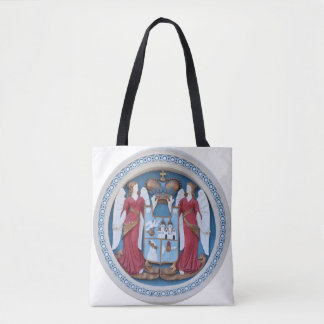 orthodox angels seal religion symbol stucco timiso tote bag