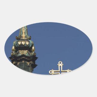 Orthodox Christian Church domes Oval Sticker