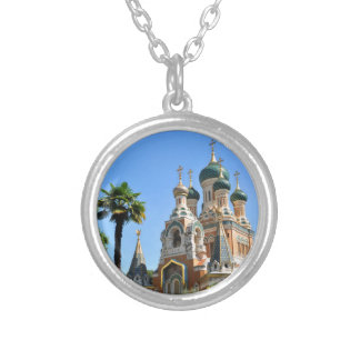 Orthodox church in Nice France Silver Plated Necklace