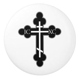 Orthodox cross ceramic knob