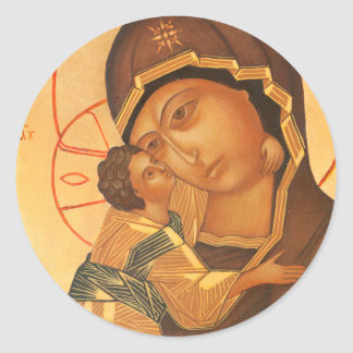 Orthodox Icon of Virgin Mary and Baby Jesus Classic Round Sticker
