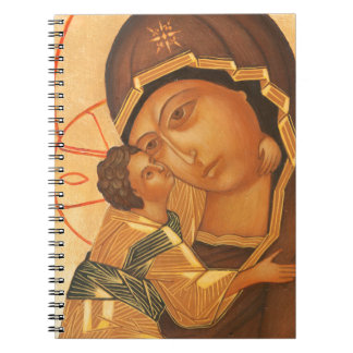 Orthodox Icon of Virgin Mary and Baby Jesus Spiral Notebooks