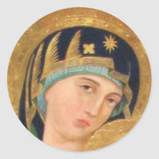 Orthodox ICON Serene Madonna Classic Round Sticker