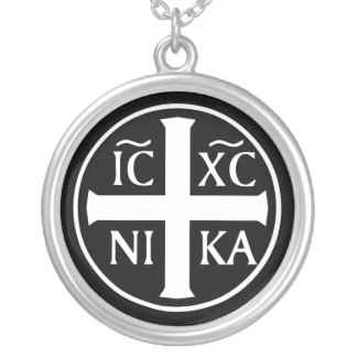 Orthodox Religious Icon ICXC NIKA Christogram Silver Plated Necklace