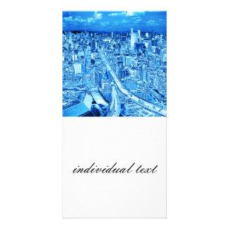 Osaka,blue Light Photo Card Template