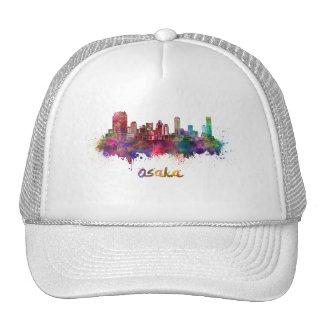 Osaka skyline in watercolor cap