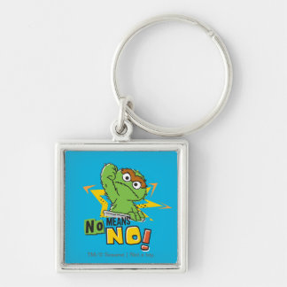 Oscar the Grouch Comic Silver-Colored Square Key Ring