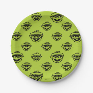 Oscar the Grouch Green Pattern 7 Inch Paper Plate