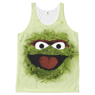 Oscar the Grouch | Watercolor Trend All-Over Print Singlet
