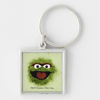 Oscar the Grouch | Watercolor Trend Silver-Colored Square Key Ring