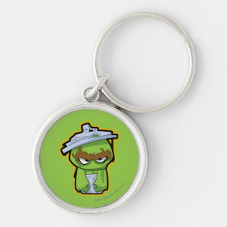 Oscar the Grouch Zombie Silver-Colored Round Key Ring
