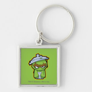 Oscar the Grouch Zombie Silver-Colored Square Key Ring