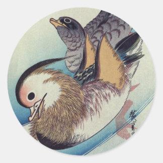 Oshidori Mandarin Ducks by Ando Hiroshige c. 1830 Classic Round Sticker