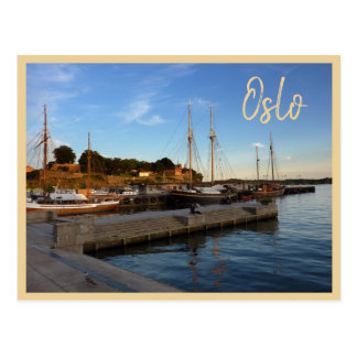 Oslo Harbour with text Postcard