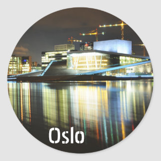 Oslo, Norway at night Classic Round Sticker