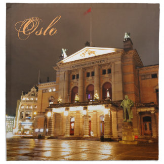 Oslo, Norway at night Napkin