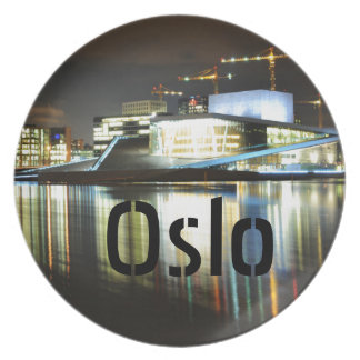 Oslo, Norway at night Plate