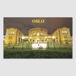 Oslo, Norway at night Rectangular Sticker