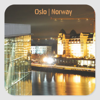 Oslo, Norway at night Square Sticker