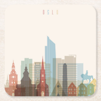 Oslo, Norway | City Skyline Square Paper Coaster