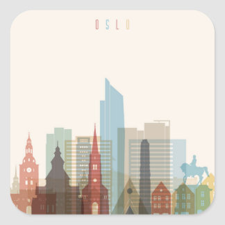 Oslo, Norway | City Skyline Square Sticker