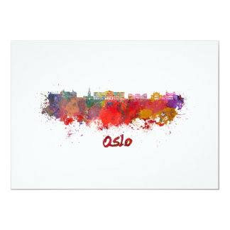 Oslo skyline in watercolor card