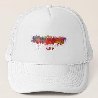 Oslo skyline in watercolor trucker hat