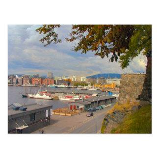 Oslo waterfront and marina post card