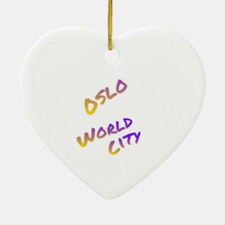 Oslo world city, colorful text art ceramic heart decoration
