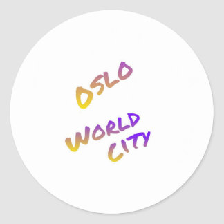 Oslo world city, colorful text art classic round sticker