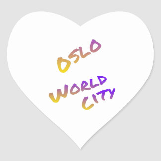 Oslo world city, colorful text art heart sticker