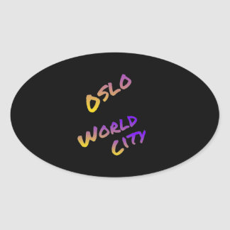 Oslo world city, colorful text art oval sticker